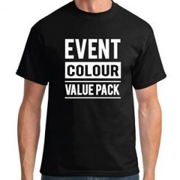 A model in a printed coloured Sportage Event t-shirt with a graphic Event Colour Value Pack printed on the front