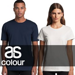 Male and female models wearing a matching AS Colour Staple and Maple Tees overlaid with an AS Colour logo