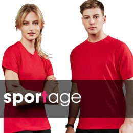 Male and female couple wearing matching red Spotage surf tees