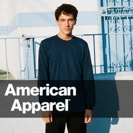 Male model in street scape wearing an American Apparel navy long sleeve top