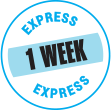 A badge graphic showing our 1 week express order service for printed t-shirts