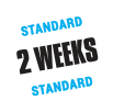 A badge graphic showing our standard 2 week order turnaround time