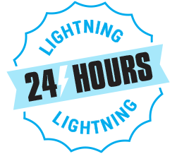 A badge graphic showing our Lightning Service where we turn around printed t-shirt orders in 24 hours, guaranteed