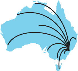 Blue graphic of an Australian map with lines all originating from Sydney depicting that we ship orders nation wide