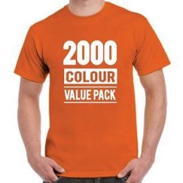 A model in a printed orange Gildan 2000 t-shirt with a graphic 2000 Colour Value Pack printed on the front