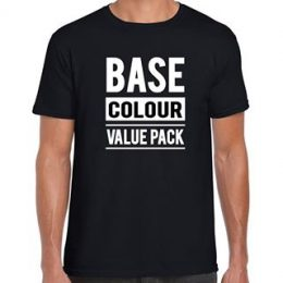 Model in a printed black Quoz Base t-shirt with a graphic Base Colour Value Pack printed on the front