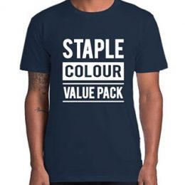 Image of a model in a printed Navy Blue AS Colour Staple t-shirt with a graphic Staple Colour Value Pack printed on the front