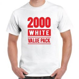 A model in a printed white Gildan 2000 t-shirt with a graphic 2000 White Value Pack printed on the front