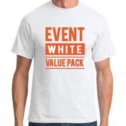 A model in a printed white Sportage Event t-shirt with a graphic Event White Value Pack printed on the front