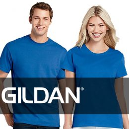 Models wearing a blue gildan 2000 with the gildan logo overlaid