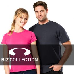 A male and female model wearing Biz Collection Ice T-shirts overlaid with a Biz logo