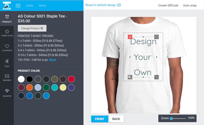 Snapshot of the design engine page showing Design your own in the t-shirt design window