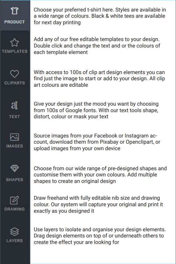 Features for printed t-shirt design tool