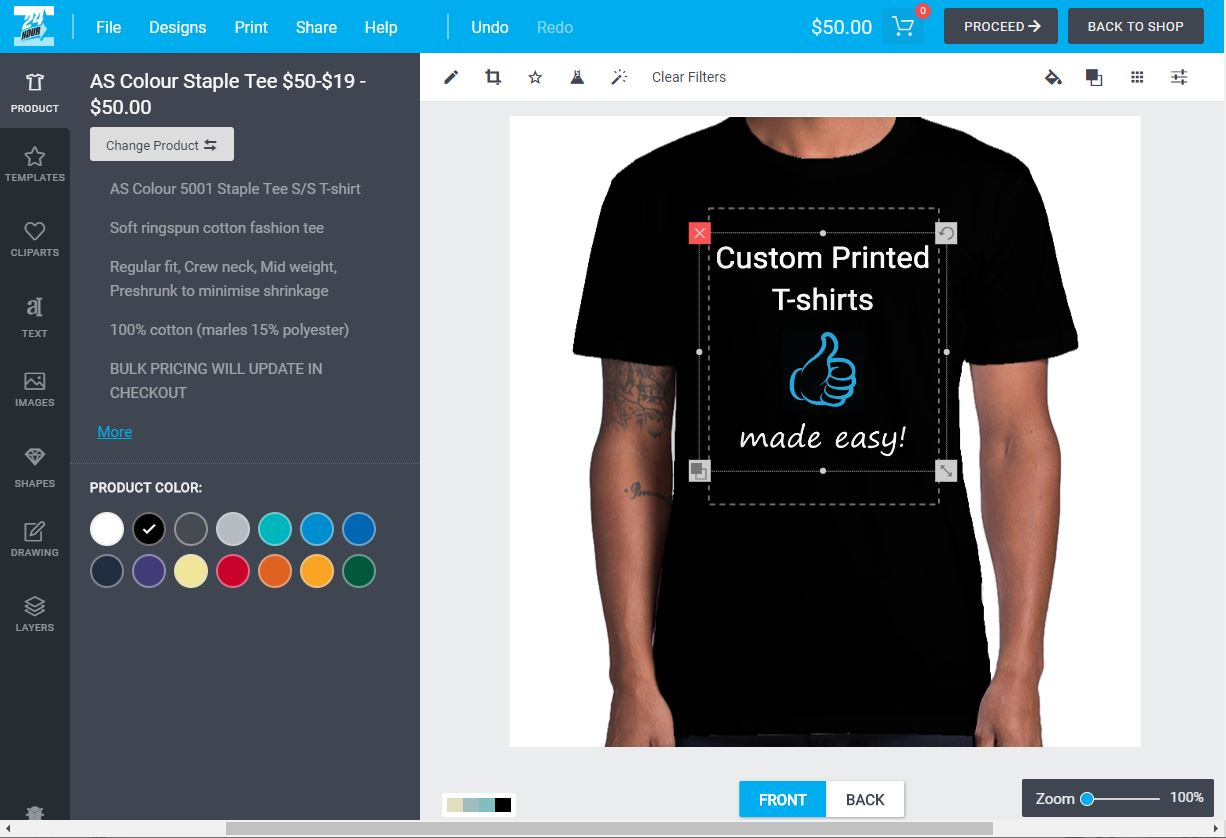 Image of online printed t-shirt design tool